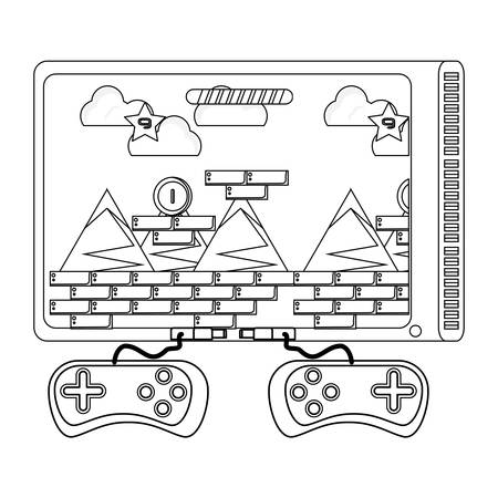 television with game controllers over white background, vector illustration Vectores