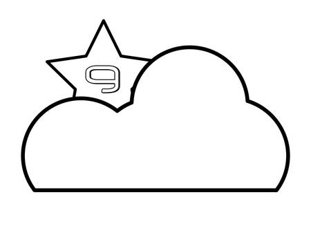 cloud with star icon over white background, vector illustration Ilustrace