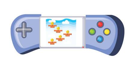 portable videogame icon over white background, vector illustration