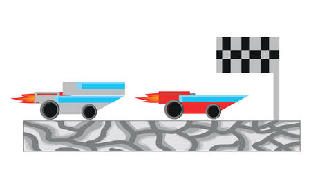race cars and flag icon over white background, vector illustration Vectores