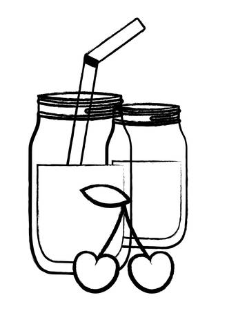 cherry juice glass over white background, vector illustration