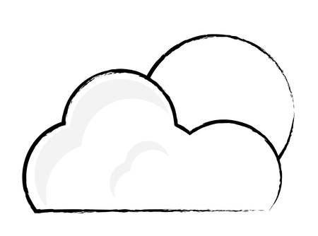 cloud and sun over white background, vector illustration  イラスト・ベクター素材