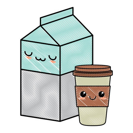 kawaii milk box and coffee cup over white background, vector illustration Illustration