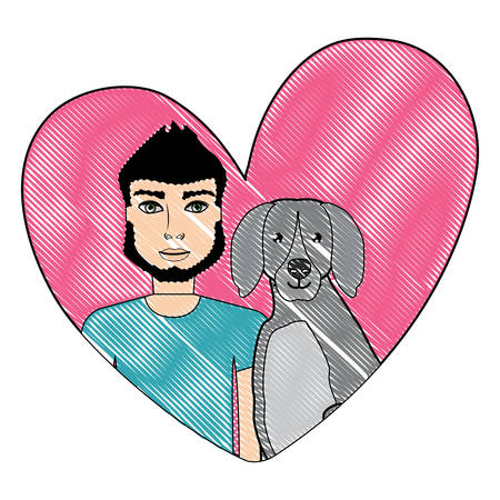 cute dog and man in a heart over white background, vector illustration