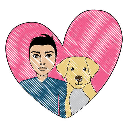 cute labrador dog and man in a heart over white background, vector illustration