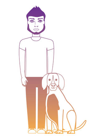 cartoon young man with cute dog over white background, vector illustration Illustration