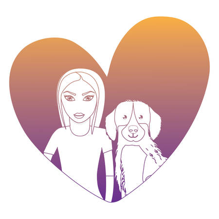 heart with cute labrador dog and woman over white background, vector illustration