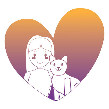 heart with cute girl and cat over white background, vector illustration Vektorové ilustrace