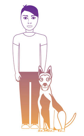 cute german shepherd dog and man standing over white background, vector illustration