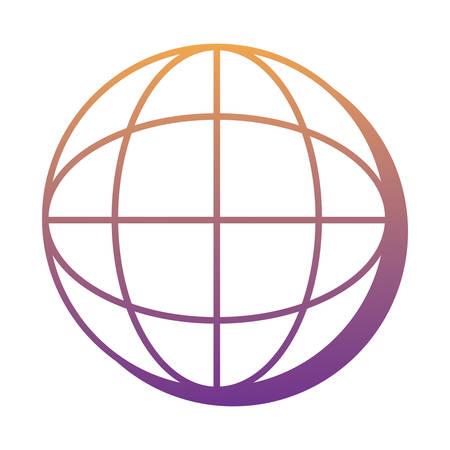 global sphere over white background, vector illustration