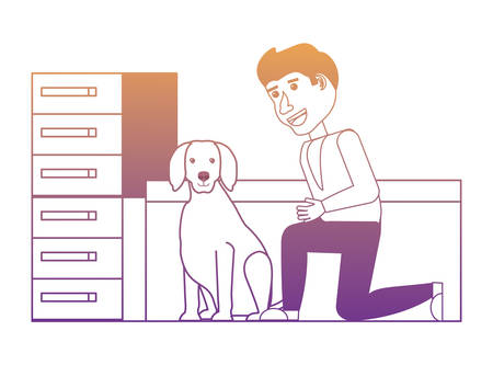 vet doctor examining a cute dog over white background, vector illustration