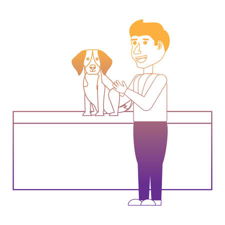 cartoon vet examining a beagle dog over white background, vector illustration