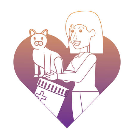 heart with vet doctor holding a cute cat over white background, vector illustration
