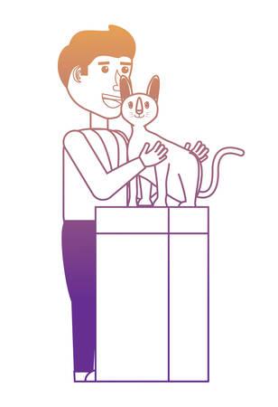 cartoon vet examining a cat over white background, vector illustration