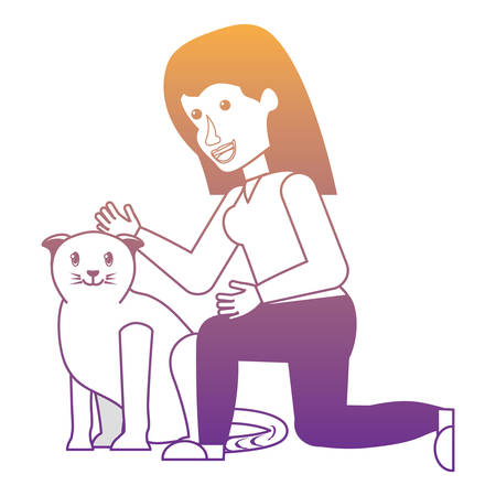 woman stroking a cute cat over white background, vector illustration Stok Fotoğraf - 110313216