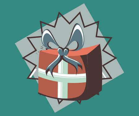 birthday gift box wrapped ribbon retro party vector illustration Illustration