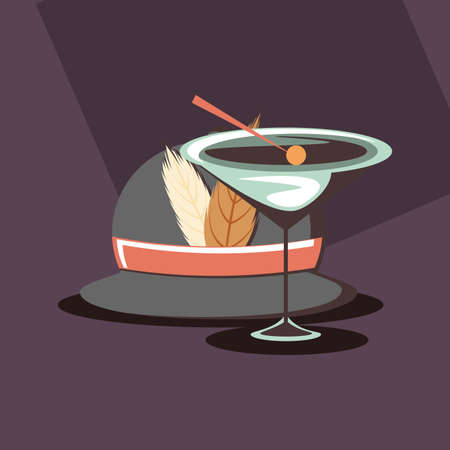 retro classic hat with feathers and cocktail party vector illustration Stock Photo