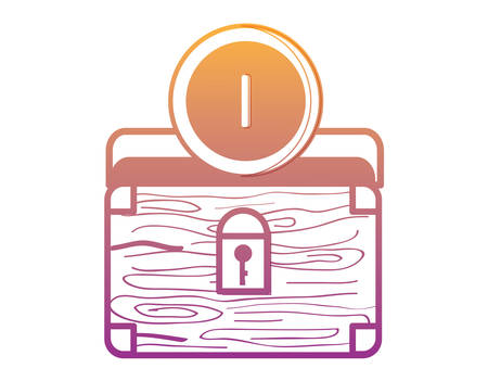 treasure chest box icon over white background, vector illustration