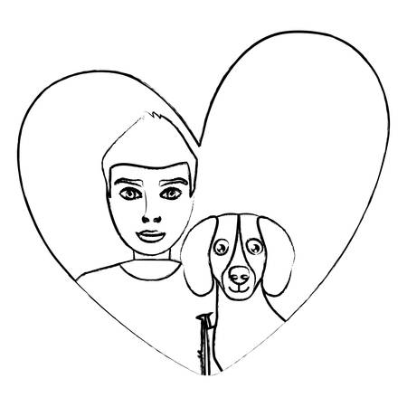 cute dachshund dog and man in a heart over white background, vector illustration