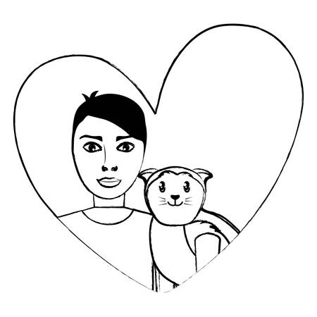 cute cat and man in a heart over white background, vector illustration