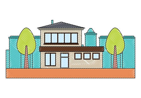 house and trees  over city landscape and white background, vector illustration