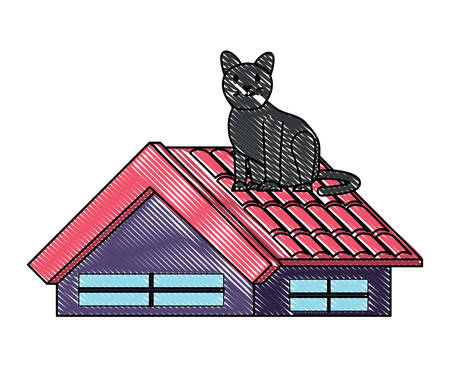 cute cat on the roof over white background, vector illustration Ilustração