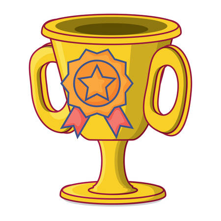 trophy cup and medal over white background, vector illustration
