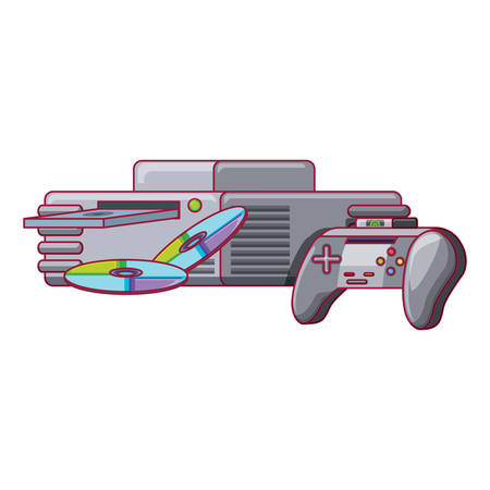 game console with cds and controller icon over white background, vector illustration Archivio Fotografico - 110314763