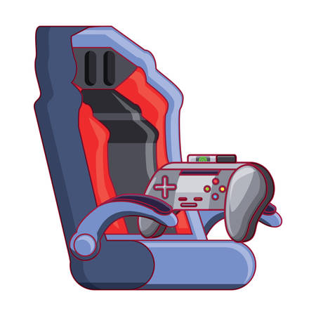 gaming chair and game controller icon over white background, vector illustration