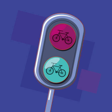 bicycle traffic light over purple background, colorful design. vector illustration