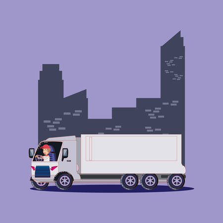 cargo truck over city buildings and purple background, colorful design. vector illustration