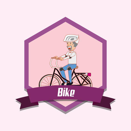 emblem of bike concept with man riding bicycle over purple background, colorful design. vector illustration