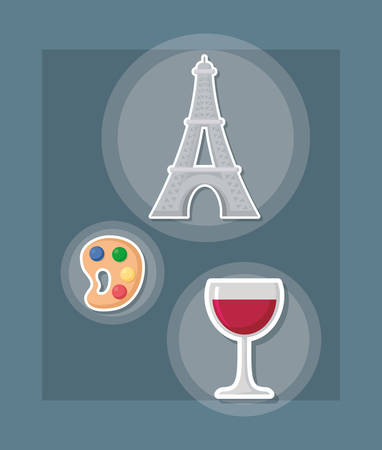 france culture card with set icons vector illustration design vector illustration design