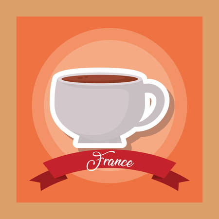 france culture card with coffee cup vector illustration design