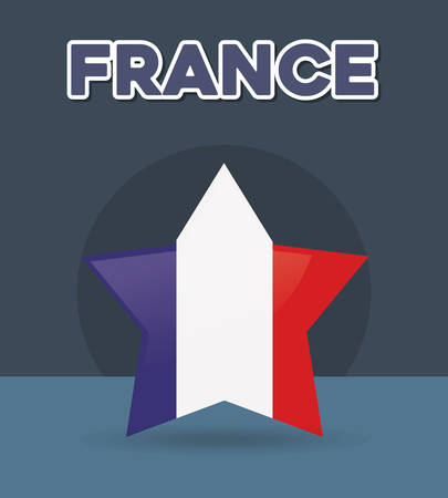 france culture card with flag and star vector illustration design