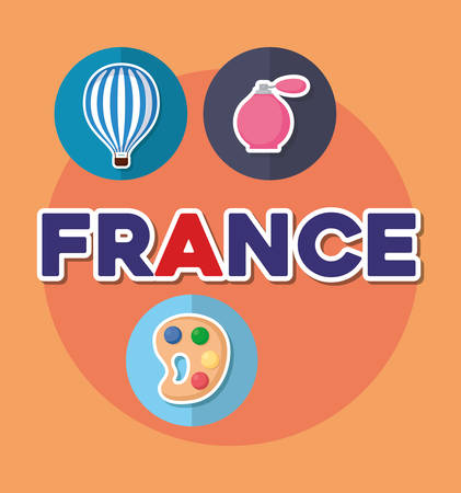 france culture card with set icons vector illustration design