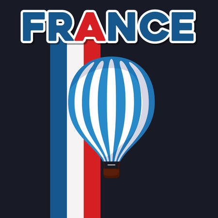 france culture card with balloon helium vector illustration design