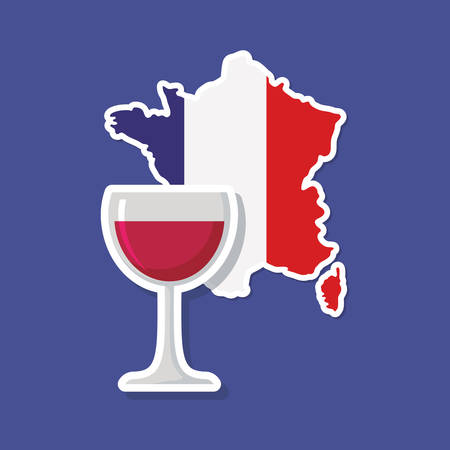france culture card with flag and map vector illustration design Illustration