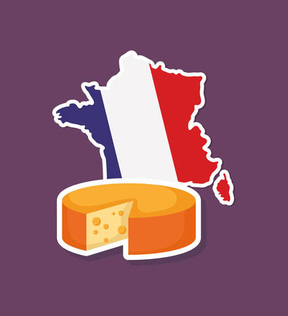 france culture card with cheese vector illustration design