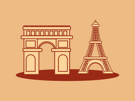 france culture card with arch of triumph vector illustration design