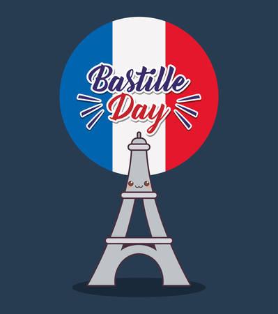 bastille day celebration card with eiffel tower vector illustration design