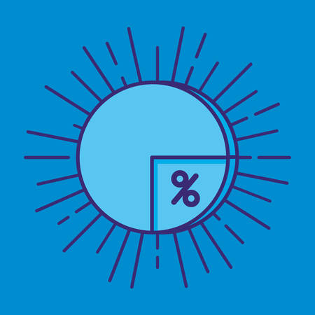 statistic pie with percent symbol vector illustration design