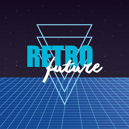 retro future label with geometric figures vector illustration design