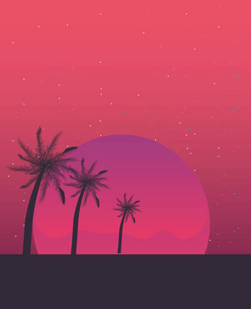 retro future label with palms vector illustration design