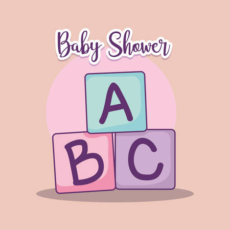 baby shower card with alphabet blocks vector illustration design