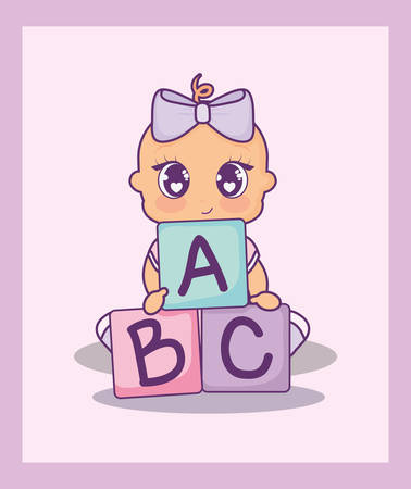 baby shower card with girl and alphabet blocks vector illustration