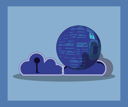 data security with cloud computing vector illustration design