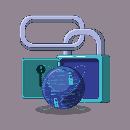 data security with padlock vector illustration design Vectores