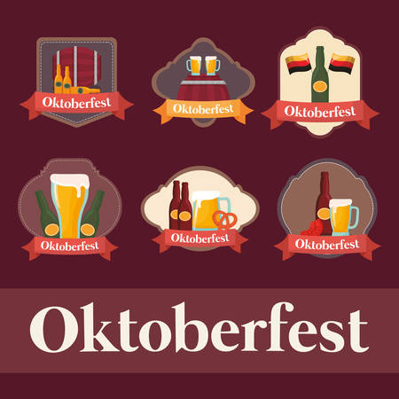 oktoberfest label with set icons vector illustration design