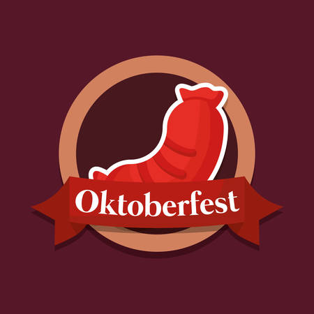 oktoberfest label with sausage vector illustration design